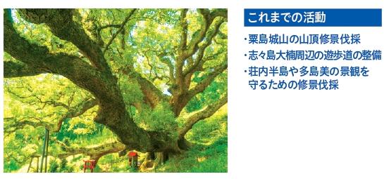 これまでの活動:・粟島城山の山頂修景伐採 ・志々島大楠周辺の遊歩道の整備 ・荘内半島や多島美の景観を守るための修景伐採