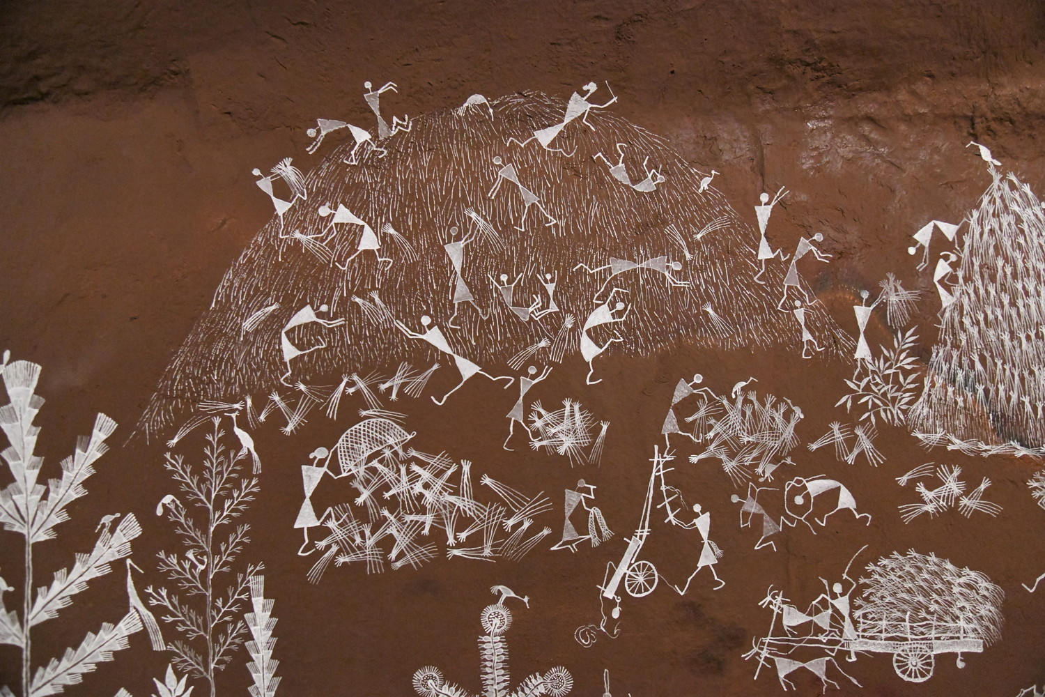 closeup of some warli art figures from Cave Paintings as Words and The Story of a Whale Reborn as Oxygen